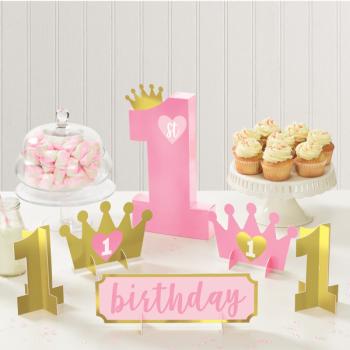Image de DECOR - 1st BIRTHDAY TABLE CENTREPIECE DECORATING KIT - PINK