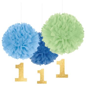 Image de DECOR - 1st BIRTHDAY FLUFFY DECORATION WITH DANGLER - BLUE