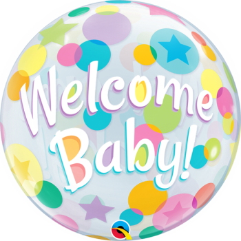 Image de WELCOME BABY DOTS BUBBLE BALLOON