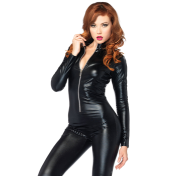Picture of CAT SUIT - BLACK WET LOOK - SMALL