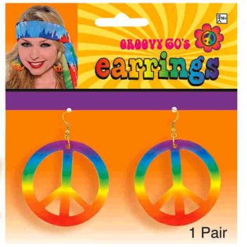 Image de 60'S PEACE SIGN EARRINGS - TIE DYE