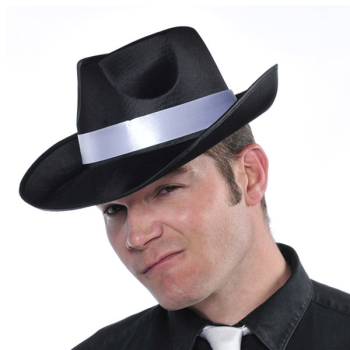 Image de 20'S BLACK SATIN GANGSTER HAT W/ WHITE BAND