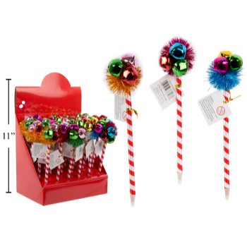 Image de DECOR - CHRISTMAS BALL PEN WITH POM POM AND BELL