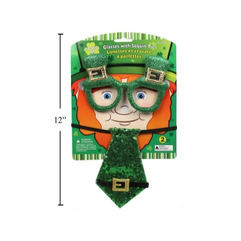 Picture of WEARABLES - ST PATRICK'S GLASSES WITH SEQUIN TIE