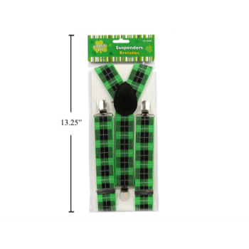 Picture of WEARABLES - ST PATRICK'S GREEN PLAID SUSPENDERS