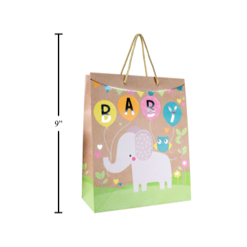 Picture of BABY ELEPHANT KRAFT GIFT BAG - MEDIUM