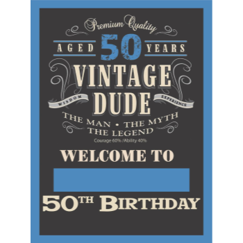 "Picture of 50th - LAWN YARD SIGN - 50TH VINTAGE DUDE ""WRITE ANY NAME"""