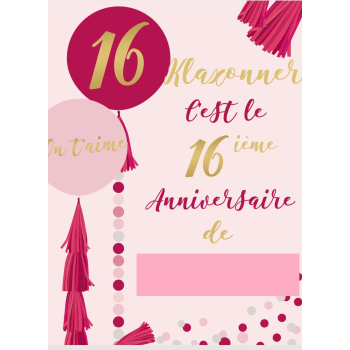 "Picture of 16th - LAWN YARD SIGN - SWEET 16 ""WRITE ANY NAME"" - FRENCH"