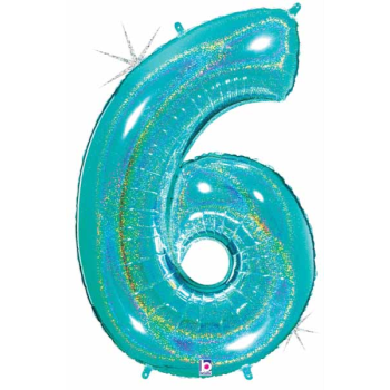 Picture of 40'' NUMBER 6 SUPERSHAPE - TURQUOISE