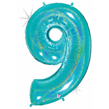 Picture of 40'' NUMBER 9 SUPERSHAPE - TURQUOISE