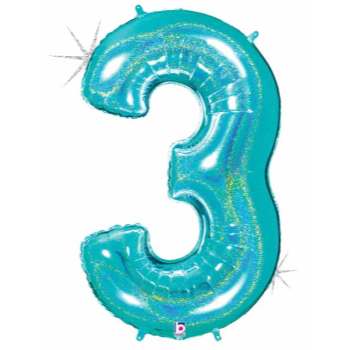 Picture of 40'' NUMBER 3 SUPERSHAPE - TURQUOISE