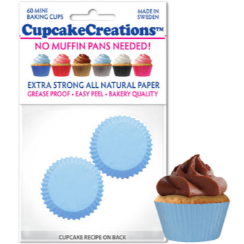 Picture of BAKING CUPS - MINI - SOLID LIGHT BLUE  60/PKG