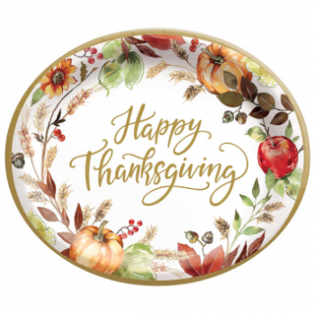 "Picture of GRATEFUL DAY - 10"" OVAL PAPER PLATES MID-CT"