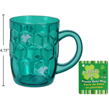 Picture of TABLEWARE - ST. PATRICK'S PLASTIC BEER MUG - 22oz