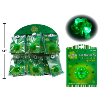 Picture of WEARABLES - ST. PATRICK'S SHAMROCK FLASHING PIN