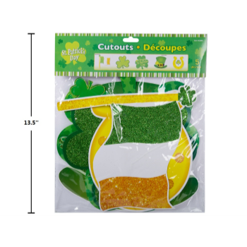 Picture of DECOR - ST PATRICK'S ASSORTED GLITTER CUTOUT