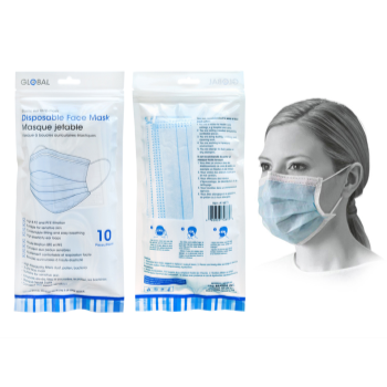 Image de MASKS - DISPOSABLE FACE MASKS - 10/PKG BLUE
