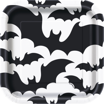 "Picture of BLACK BATS HALLOWEEN - 7"" SQUARE PLATES"