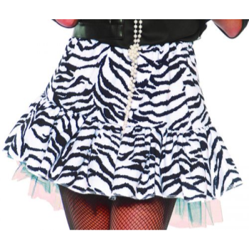 Image de 80'S ZEBRA SKIRT WHITE/BLACK - ADULT SMALL