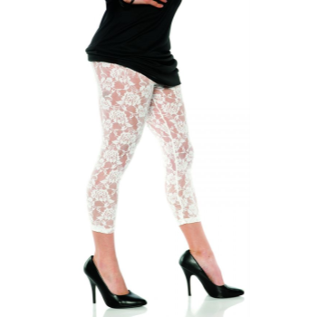 Image de 80'S LACE LEGGINGS WHITE - ADULT MEDIUM