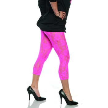 Image de 80'S LACE LEGGINGS NEON PINK - ADULT MEDIUM