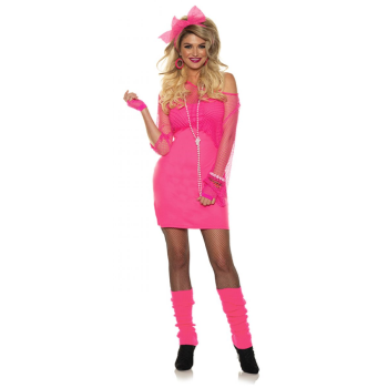 Image de 80'S NEON DRESS - NEON PINK - ADULT MEDIUM