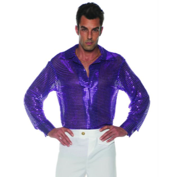 Image de 70'S SEQUIN SHIRT PURPLE - ADULT STANDARD