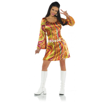 Picture of 70'S DISCO CHICK SWIRLS BRIGHT DRESS - ADULT SMALL