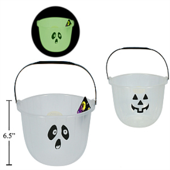 "Picture of GLOW IN THE DARK PAIL - 8""  GHOST OR PUMPKIN"