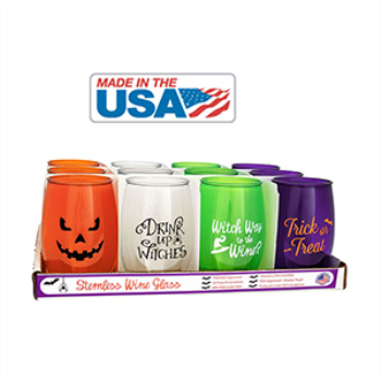 Picture of HALLOWEEN PLASTIC STEMLESS WINE GLASSES