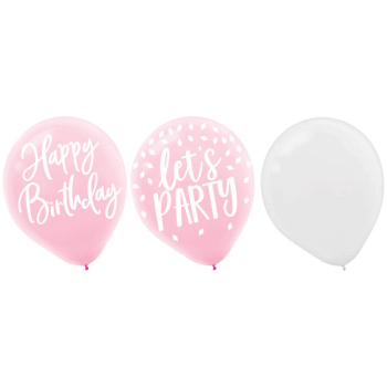 """Picture of 12"""" BIRTHDAY BLUSH LATEX BALLOONS"""
