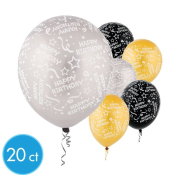 """Picture of 12"""" BIRTHDAY - GOLD/BK/SILVER 20/PKG"""