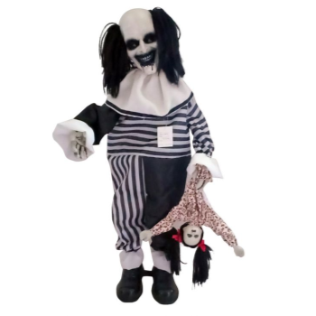 "Picture of 31"" CREEPY CLOWN WITH DOLL"