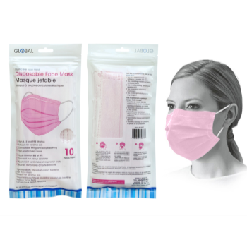 Image de MASKS - DISPOSABLE FACE MASKS - 10/PKG PINK