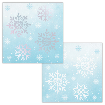 Picture of TABLEWARE - SNOWFLAKES IRIDESCENT FOIL BEVERAGE NAPKINS
