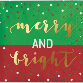 Image de TABLEWARE - MERRY AND BRIGHT BEVERAGE NAPKINS