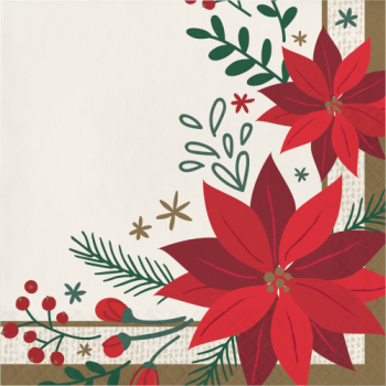 Image de TABLEWARE - MODERN POINSETTIA LUNCHEON NAPKINS