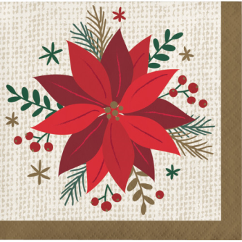 Picture of TABLEWARE - MODERN POINSETTIA BEVERAGE NAPKINS