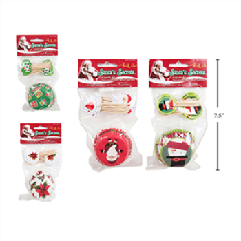 Image de TABLEWARE -  BAKING CUPS  WITH PICKS CHRISTMAS