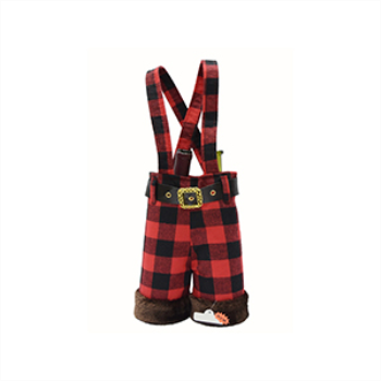 Picture of DECOR - GIFT BAG - WINE BAG WITH FUR TRIM BUFFALO PLAID SUSPENDER PANTS