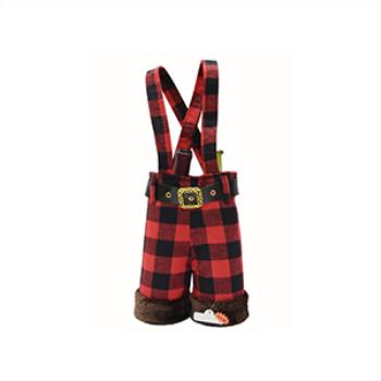 Image de DECOR - GIFT BAG - WINE BAG WITH FUR TRIM BUFFALO PLAID SUSPENDER PANTS