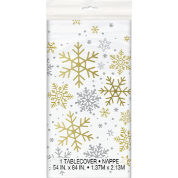 Picture of TABLEWARE - SILVER & GOLD HOLIDAY SNOWFLAKES - TABLE COVER
