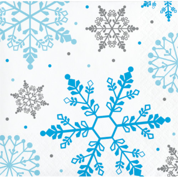 Picture of TABLEWARE - WINTER SNOWFLAKE BEVERAGE NAPKINS