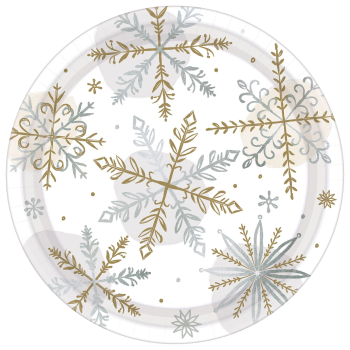 "Image de TABLEWARE - SHINING SNOW 7"" METALLIC PLATES"