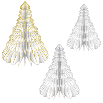 Image de DECOR - HONEYCOMB STANDING GLITTER TREES