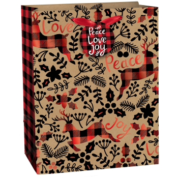 Image de DECOR - GIFT BAG - PEACE LOVE JOY MEDIUM VERTICAL KRAFT BAG
