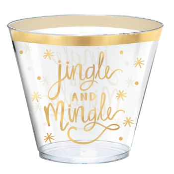 Image de TABLEWARE - JINGLE AND MINGLE 9OZ HOT STAMP PLASTIC TUMBLERS