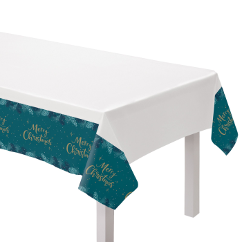 Image de TABLEWARE - VERY MERRY TEAL PAPER TABLE COVER