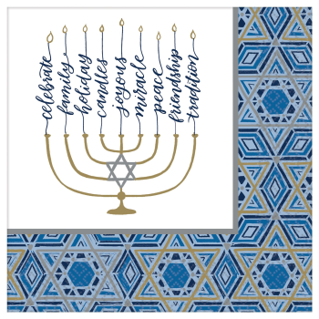 Picture of TABLEWARE - HANUKKAH FESTIVAL OF LIGHTS DINNER NAPKINS