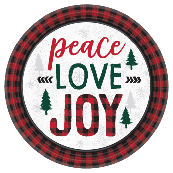 "Image de TABLEWARE - COZY HOLIDAY PEACE LOVE JOY PLAID - 7"" PLATES"